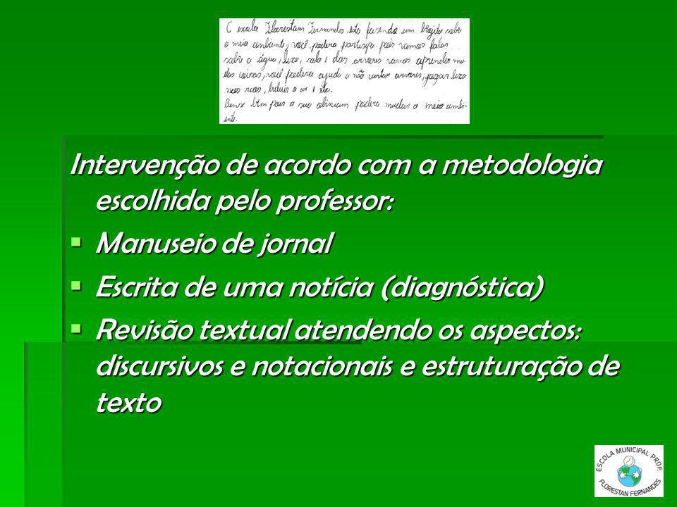 Intervenção de acordo com a metodologia escolhida pelo professor: Manuseio de jornal Manuseio de jornal Escrita de uma notícia (diagnóstica) Escrita d