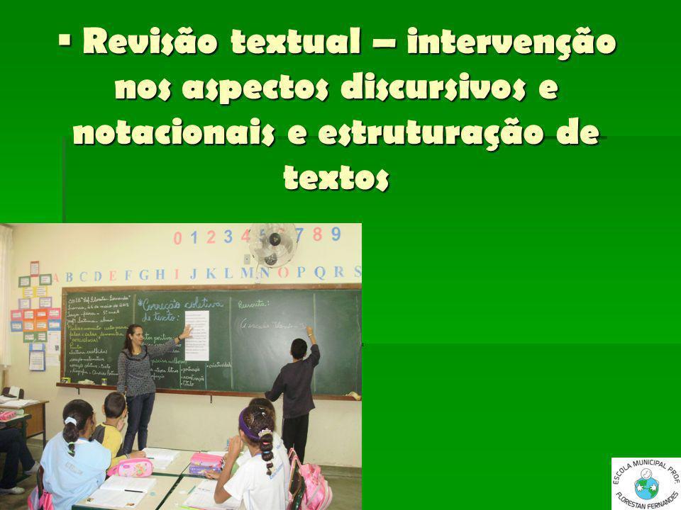 Revisão textual – intervenção nos aspectos discursivos e notacionais e estruturação de textos Revisão textual – intervenção nos aspectos discursivos e