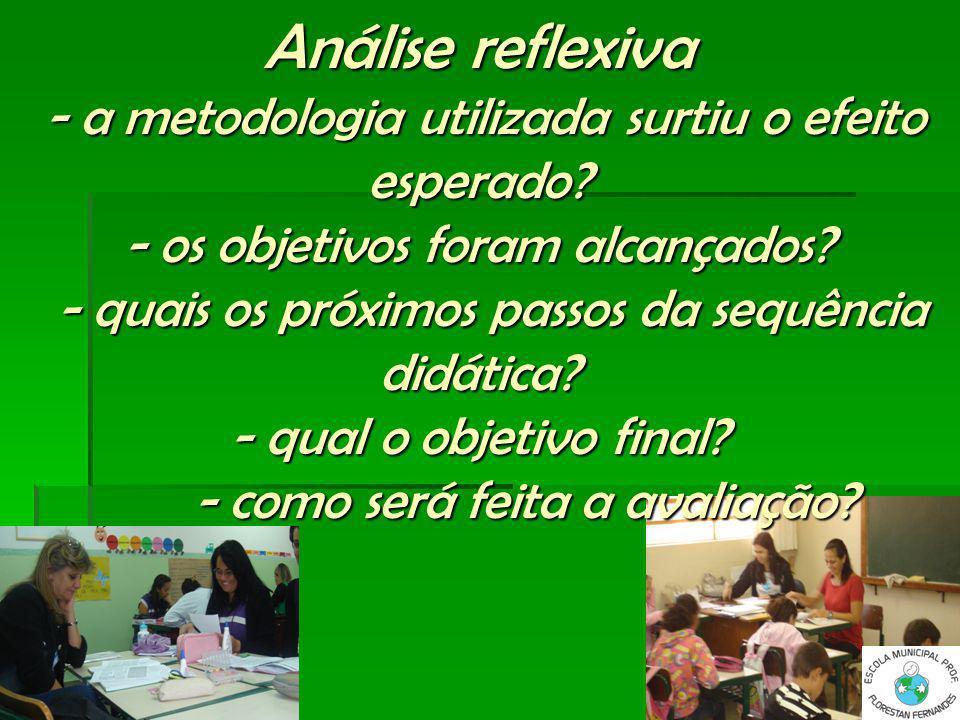 Análise reflexiva - a metodologia utilizada surtiu o efeito esperado? - os objetivos foram alcançados? - quais os próximos passos da sequência didátic