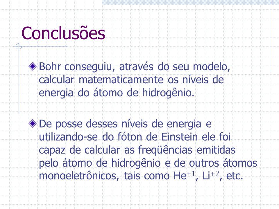 Conclusões Bohr conseguiu, através do seu modelo, calcular matematicamente os níveis de energia do átomo de hidrogênio. De posse desses níveis de ener