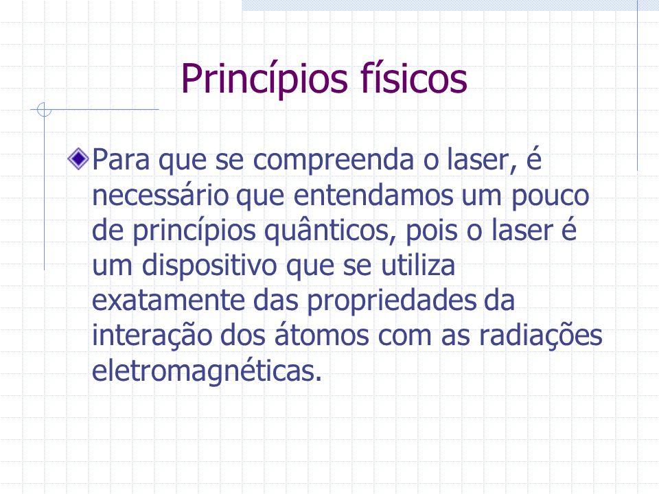 Princípios físicos Para que se compreenda o laser, é necessário que entendamos um pouco de princípios quânticos, pois o laser é um dispositivo que se
