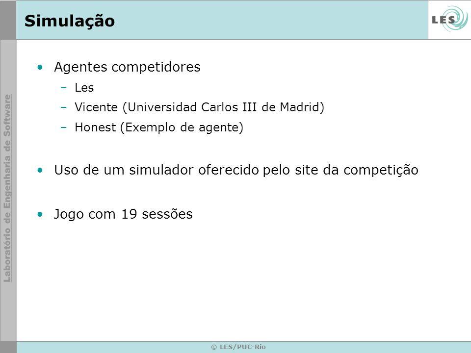 © LES/PUC-Rio Simulação Agentes competidores –Les –Vicente (Universidad Carlos III de Madrid) –Honest (Exemplo de agente) Uso de um simulador oferecido pelo site da competição Jogo com 19 sessões