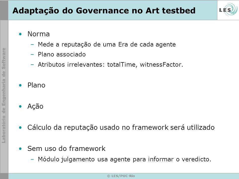 © LES/PUC-Rio Adaptação do Governance no Art testbed Norma –Mede a reputação de uma Era de cada agente –Plano associado –Atributos irrelevantes: totalTime, witnessFactor.