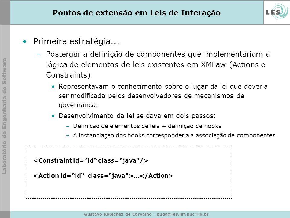 Gustavo Robichez de Carvalho - guga@les.inf.puc-rio.br Pontos de extensão em Leis de Interação Primeira estratégia... –Postergar a definição de compon