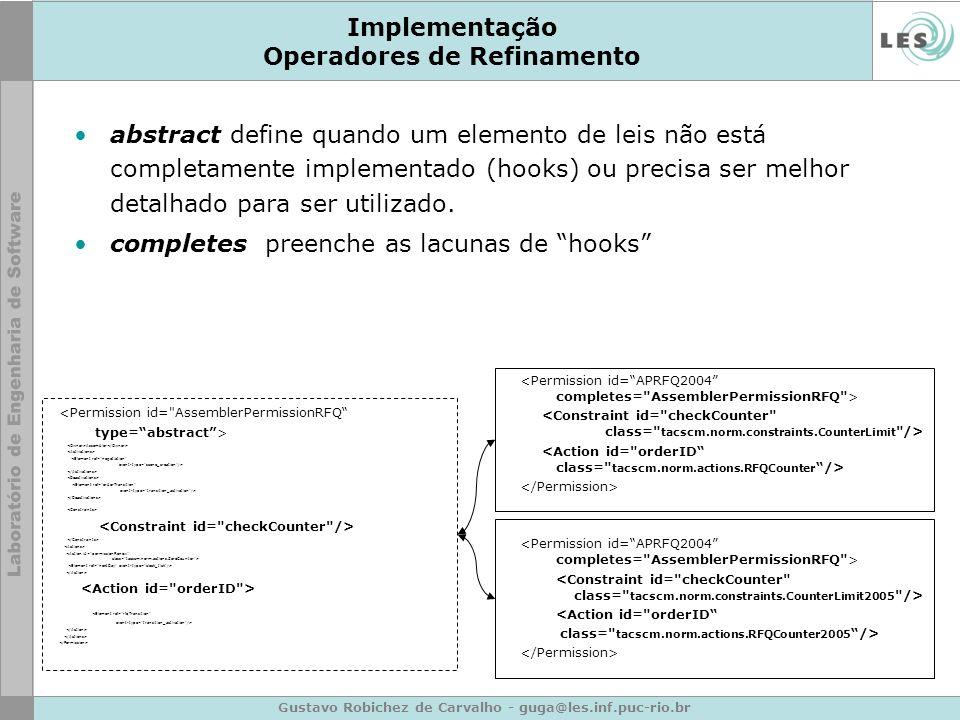Gustavo Robichez de Carvalho - guga@les.inf.puc-rio.br Implementação Operadores de Refinamento abstract define quando um elemento de leis não está com
