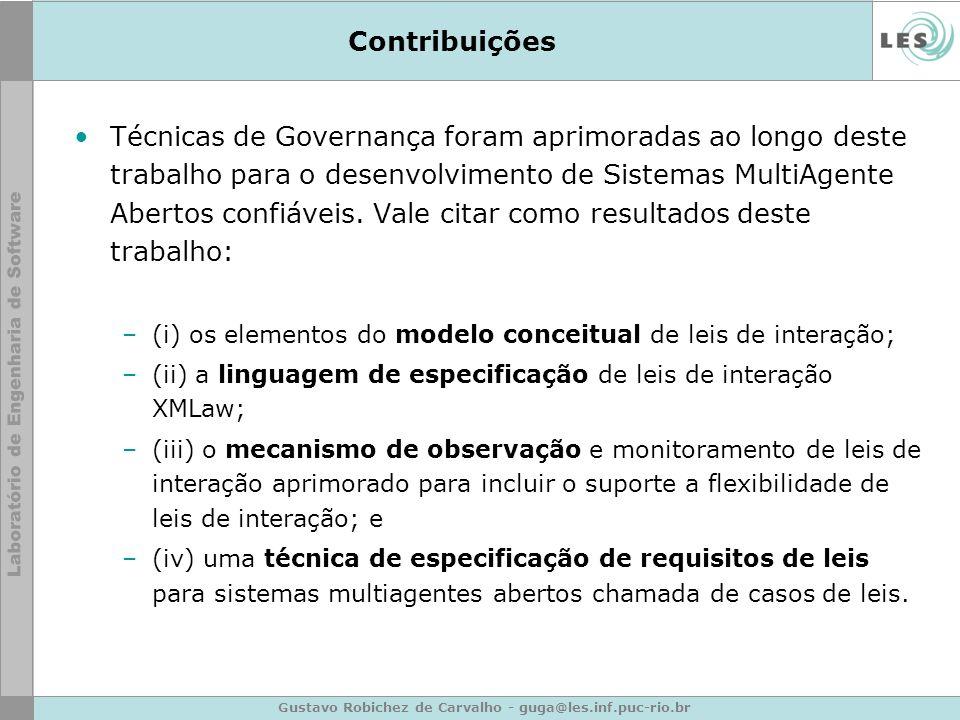 Gustavo Robichez de Carvalho - guga@les.inf.puc-rio.br Contribuições Técnicas de Governança foram aprimoradas ao longo deste trabalho para o desenvolv