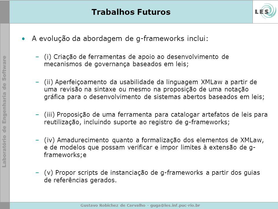 Gustavo Robichez de Carvalho - guga@les.inf.puc-rio.br Trabalhos Futuros A evolução da abordagem de g-frameworks inclui: –(i) Criação de ferramentas d