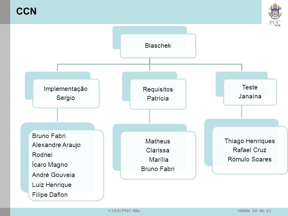 Slide 10 de 21 LES/PUC-Rio Blaschek Implementação Sergio Bruno Fabri Alexandre Araujo Rodnei Ícaro Magno André Gouveia Luiz Henrique Filipe Daflon Req
