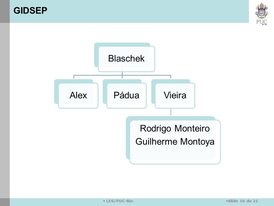 Slide 16 de 21 LES/PUC-Rio BlaschekAlexPáduaVieira Rodrigo Monteiro Guilherme Montoya GIDSEP