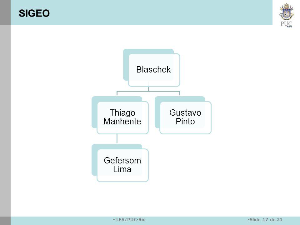 Slide 17 de 21 LES/PUC-Rio Blaschek Thiago Manhente Gefersom Lima Gustavo Pinto SIGEO