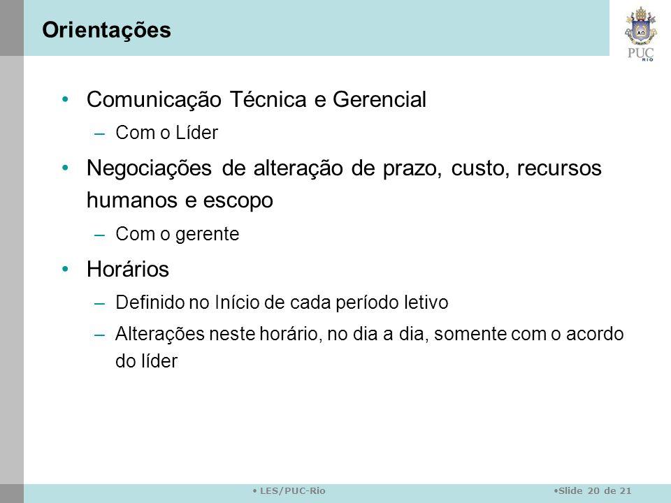 Slide 20 de 21 LES/PUC-Rio Orientações Comunicação Técnica e Gerencial –Com o Líder Negociações de alteração de prazo, custo, recursos humanos e escop
