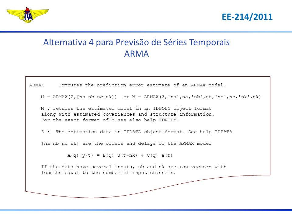 Alternativa 4 para Previsão de Séries Temporais ARMA ARMAXComputes the prediction error estimate of an ARMAX model. M = ARMAX(Z,[na nb nc nk]) or M =