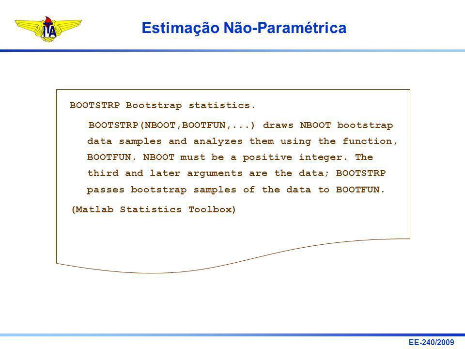EE-240/2009 Estimação Não-Paramétrica BOOTSTRP Bootstrap statistics. BOOTSTRP(NBOOT,BOOTFUN,...) draws NBOOT bootstrap data samples and analyzes them
