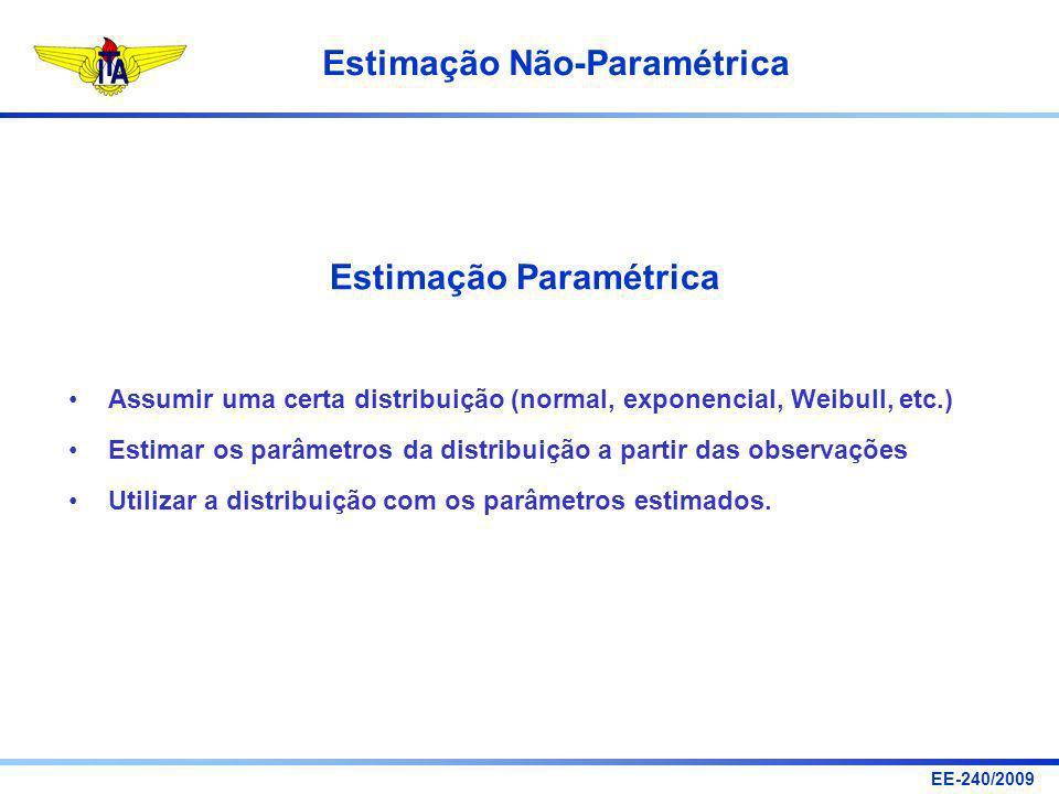 EE-240/2009 Estimação Não-Paramétrica Exemplo 1: Estimativa da Mediana Amostra de 10 observações gerada a partir de uma distribuição uniforme no intervalo [0, 10] (números inteiros): X = { 10, 2, 6, 5, 9, 8, 5, 0, 8 }.
