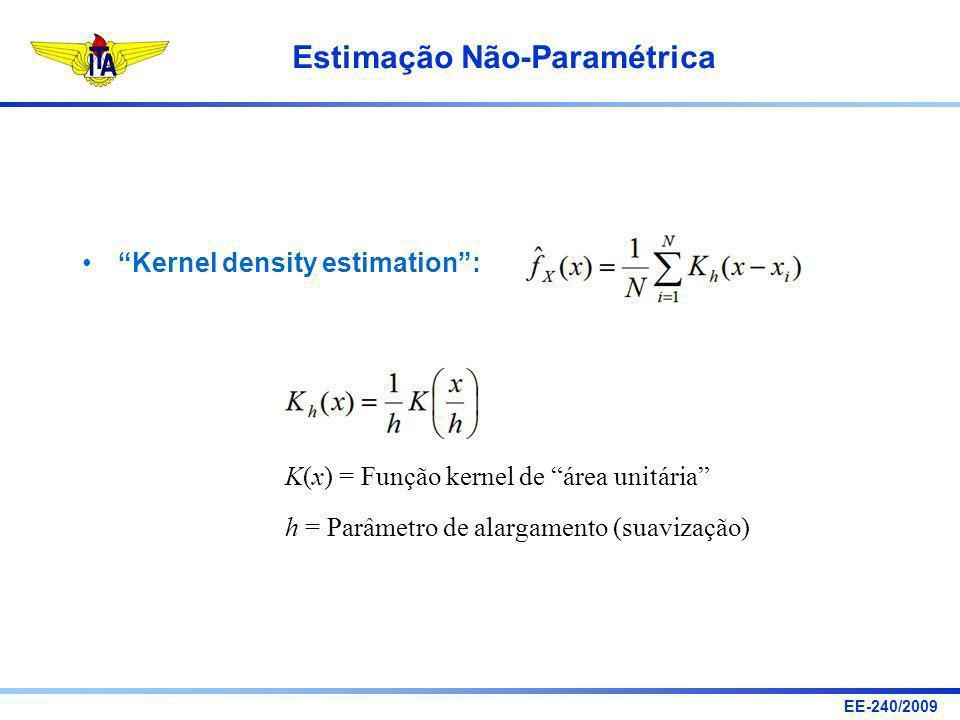 EE-240/2009 Estimação Não-Paramétrica Kernel density estimation: K(x) = Função kernel de área unitária h = Parâmetro de alargamento (suavização)