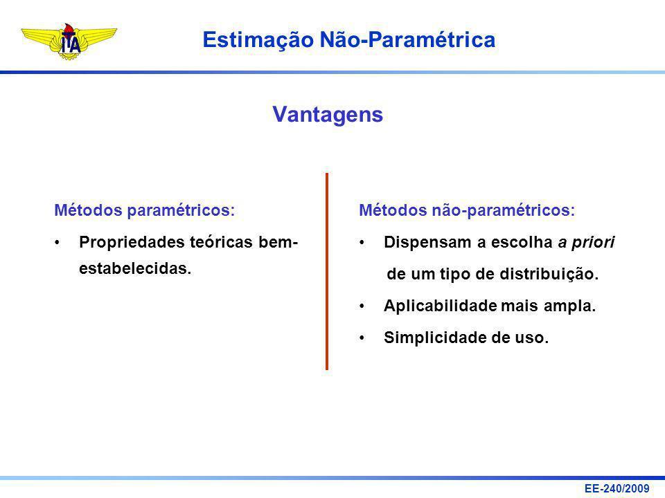 EE-240/2009 Estimação Não-Paramétrica Vantagens Métodos paramétricos: Propriedades teóricas bem- estabelecidas. Métodos não-paramétricos: Dispensam a