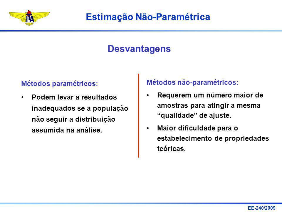EE-240/2009 Estimação Não-Paramétrica Métodos paramétricos: Podem levar a resultados inadequados se a população não seguir a distribuição assumida na
