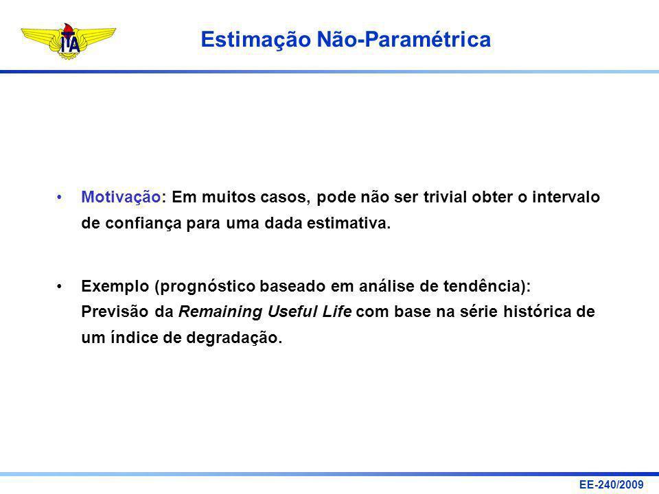EE-240/2009 Estimação Não-Paramétrica Motivação: Em muitos casos, pode não ser trivial obter o intervalo de confiança para uma dada estimativa. Exempl