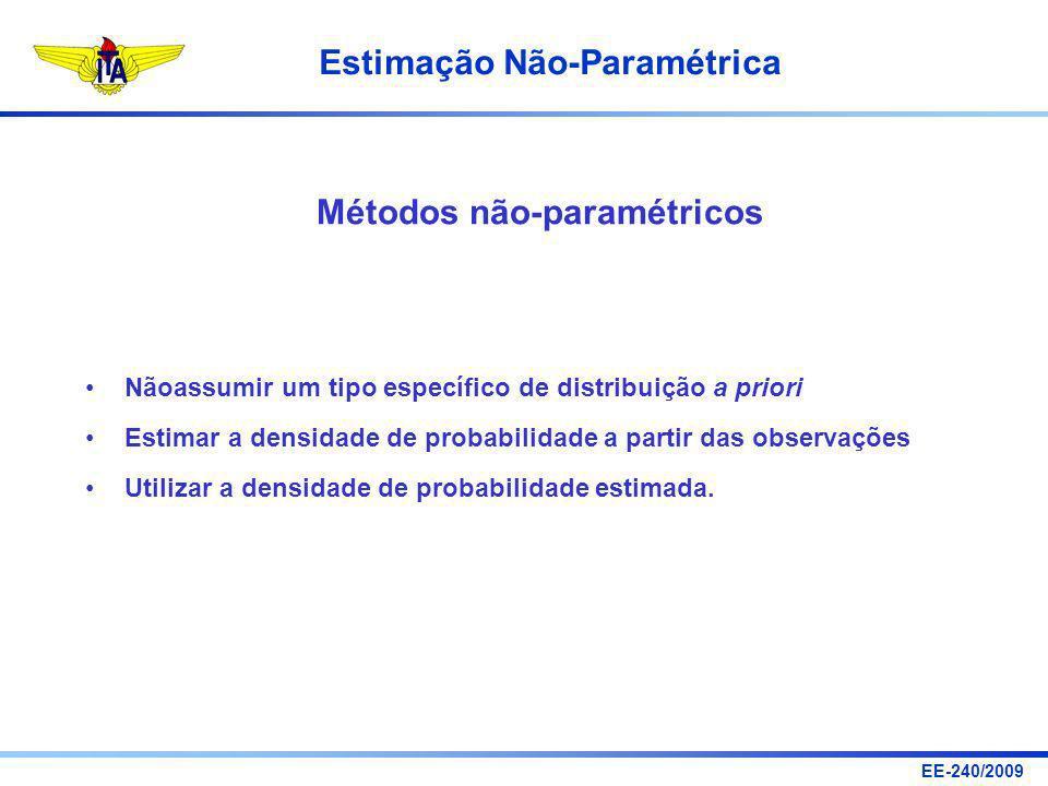 EE-240/2009 Estimação Não-Paramétrica Nãoassumir um tipo específico de distribuição a priori Estimar a densidade de probabilidade a partir das observa