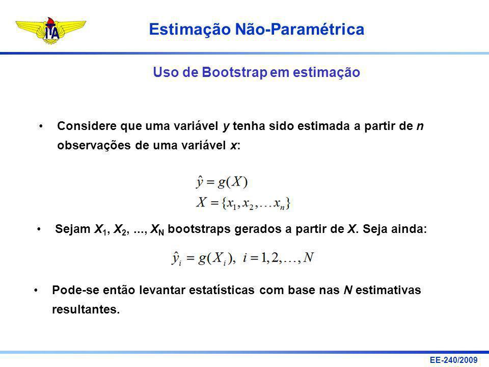 EE-240/2009 Estimação Não-Paramétrica Uso de Bootstrap em estimação Considere que uma variável y tenha sido estimada a partir de n observações de uma