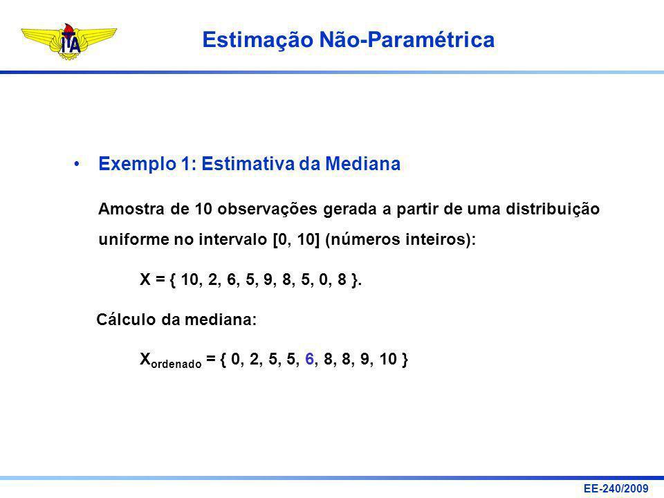 EE-240/2009 Estimação Não-Paramétrica Exemplo 1: Estimativa da Mediana Amostra de 10 observações gerada a partir de uma distribuição uniforme no inter