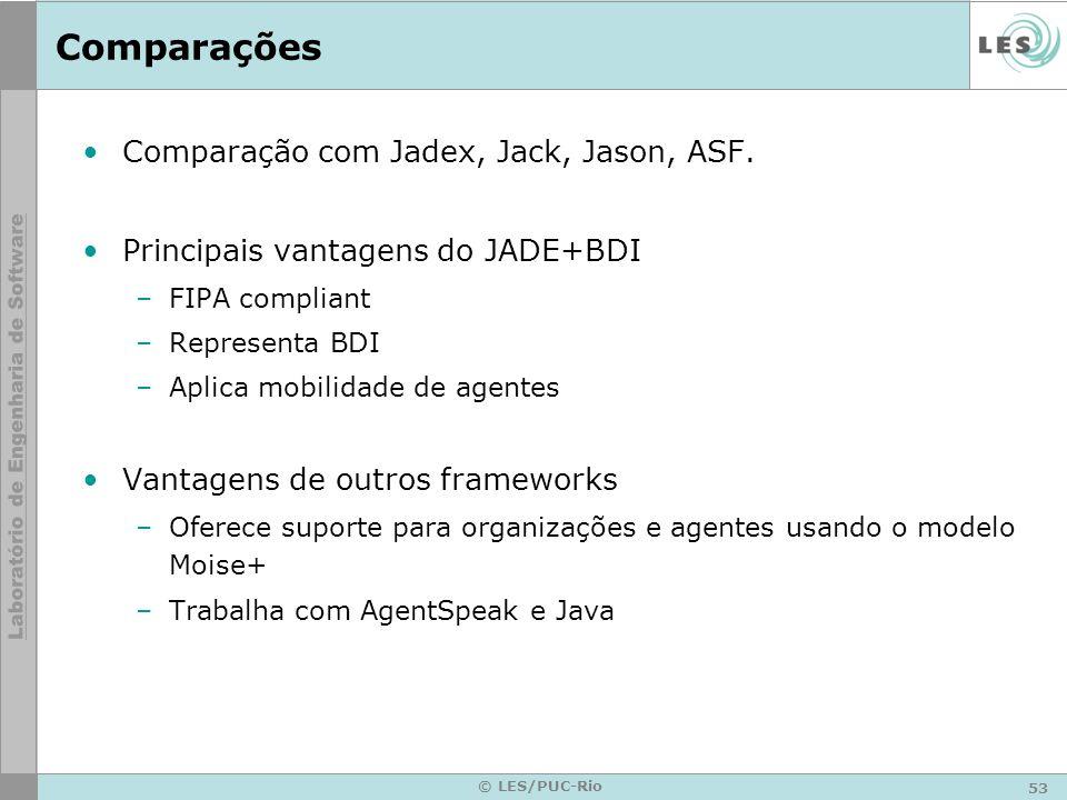 53 © LES/PUC-Rio Comparações Comparação com Jadex, Jack, Jason, ASF.