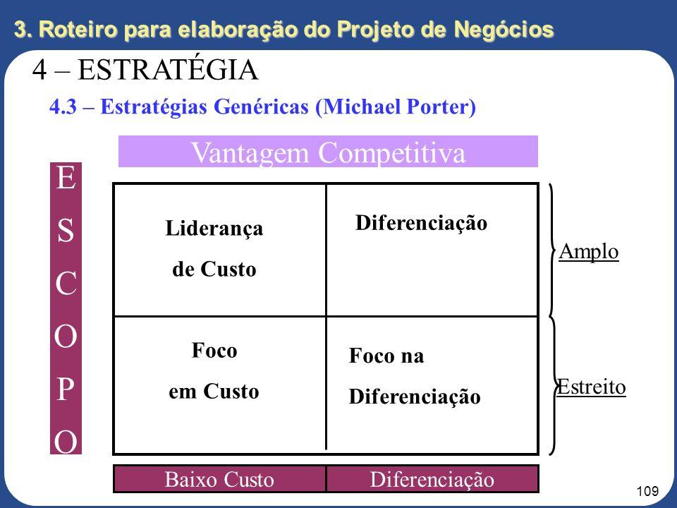 108 3. Roteiro para elaboração do Projeto de Negócios 4 – ESTRATÉGIA 4.3 – Estratégias Genéricas ESTRATÉGIAS GENÉRICAS