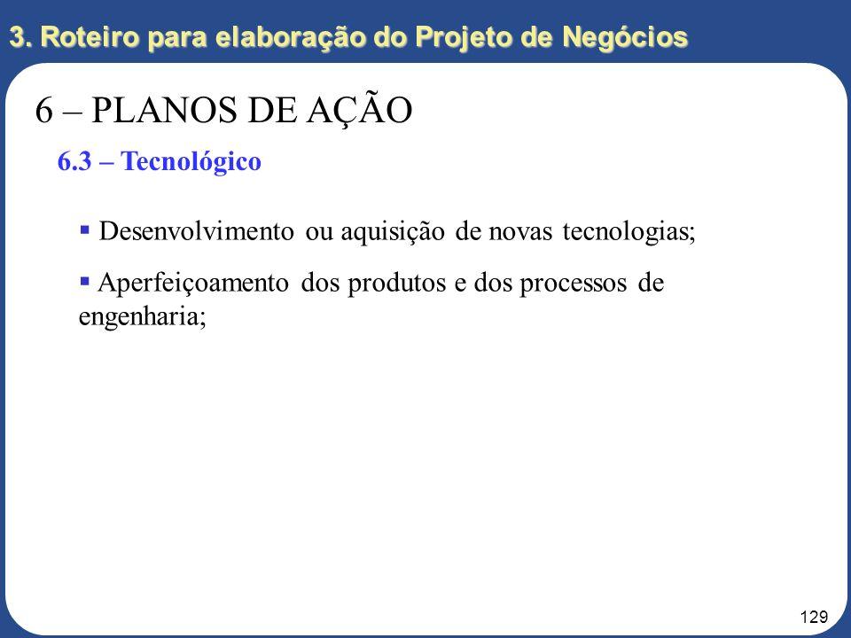 128 3. Roteiro para elaboração do Projeto de Negócios 6 – PLANOS DE AÇÃO 6.2 – Logística Nível de Serviço ao Cliente; Transportes; Armazenagem; Distri