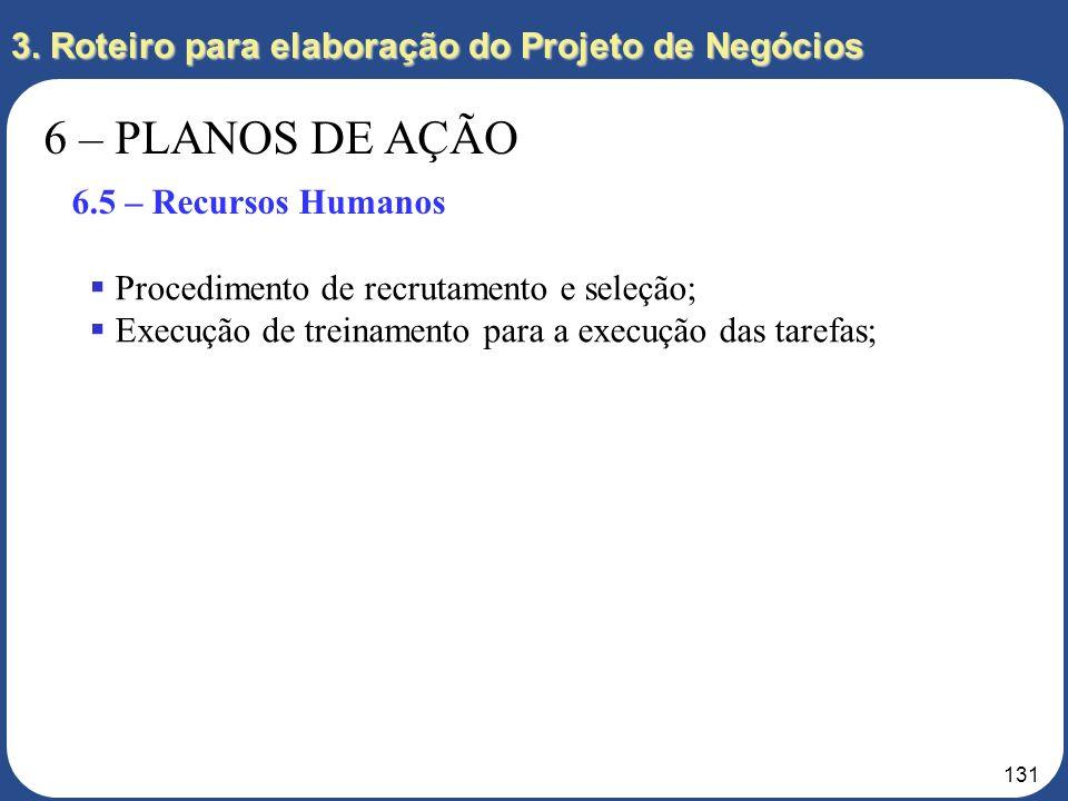 130 3. Roteiro para elaboração do Projeto de Negócios 6 – PLANOS DE AÇÃO 6.4 – Procurement Identificação das Necessidades: terreno, loja, aluguel; Det