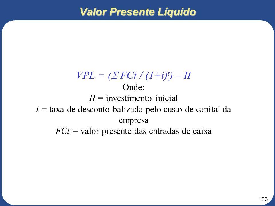 152 7 – ANÁLISES FINANCEIRA 7.4 – Indicadores Financeiros 3. Roteiro para elaboração do Projeto de Negócios Taxa Interna de Retorno - TIR Taxa de desc