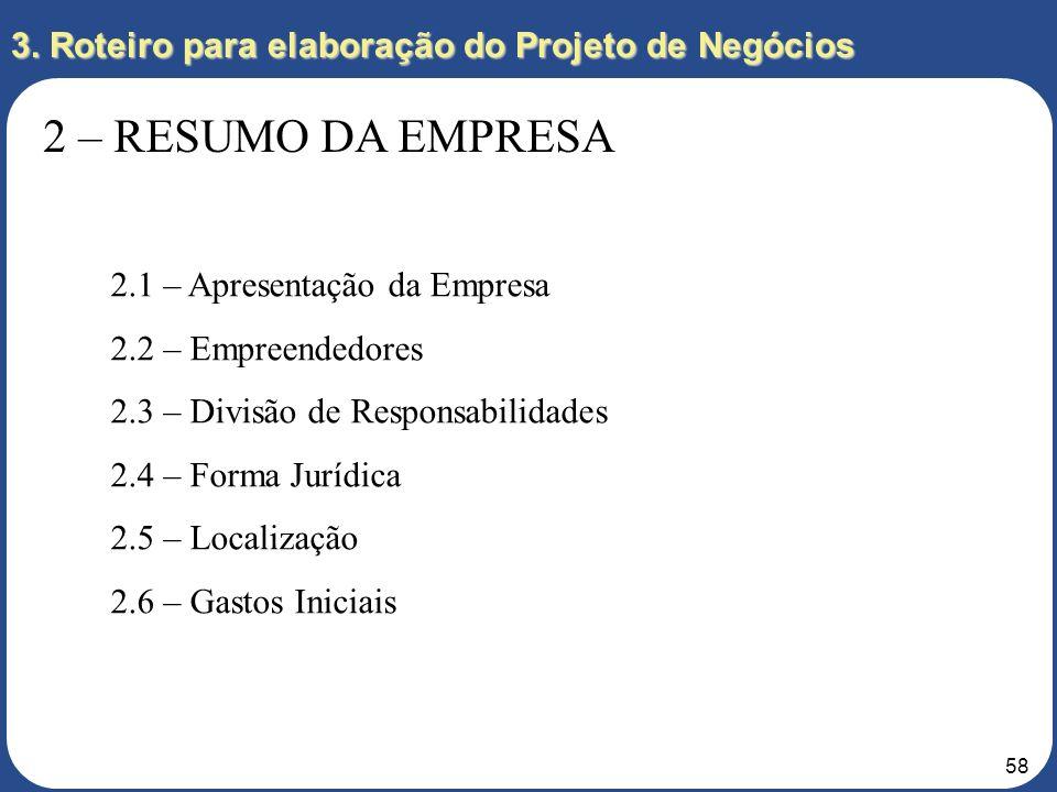 57 3. Roteiro para elaboração do Projeto de Negócios 2 – RESUMO DA EMPRESA