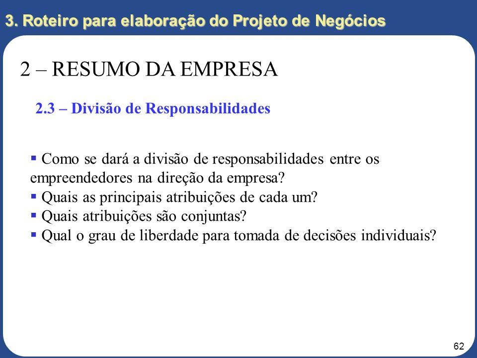 61 3. Roteiro para elaboração do Projeto de Negócios 2 – RESUMO DA EMPRESA 2.2 – Empreendedores Identifique os empreendedores e informe os seus curríc