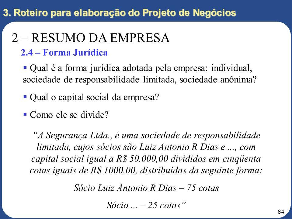 63 3. Roteiro para elaboração do Projeto de Negócios 2 – RESUMO DA EMPRESA 2.3 – Divisão de Responsabilidades As responsabilidades dos empreendedores