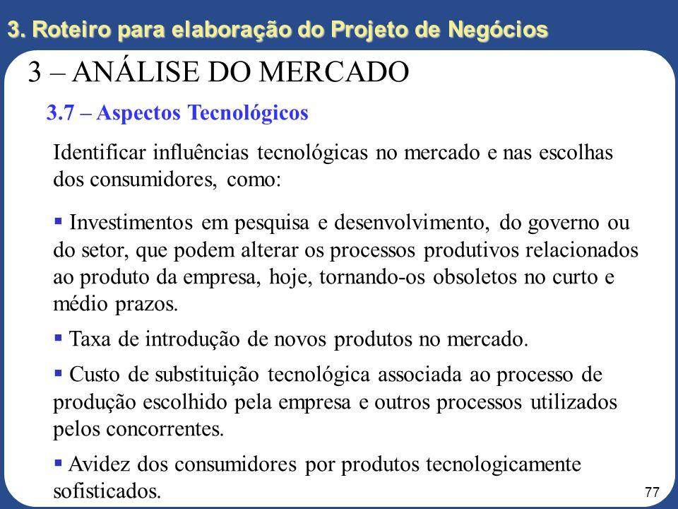 76 3. Roteiro para elaboração do Projeto de Negócios 3 – ANÁLISE DO MERCADO 3.6 – Aspectos Sociais Identificar os aspectos sociais que podem influenci