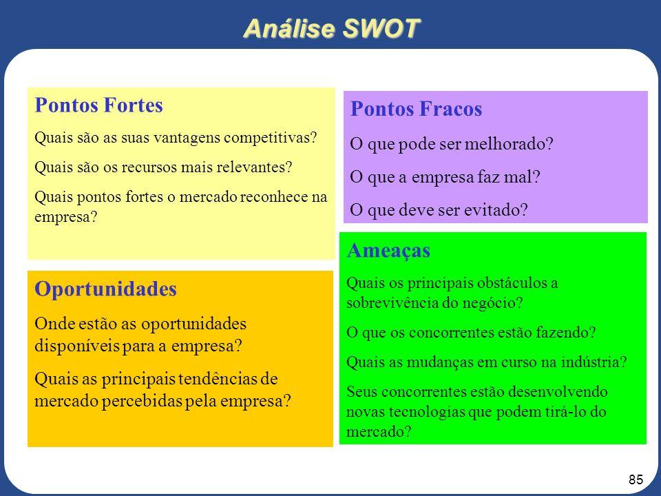 84 Análise SWOT Pontos Fortes: Fatores internos que auxiliam a realização Da Missão; Fraquezas: Fatores internos que Dificultam a realização Da Missão