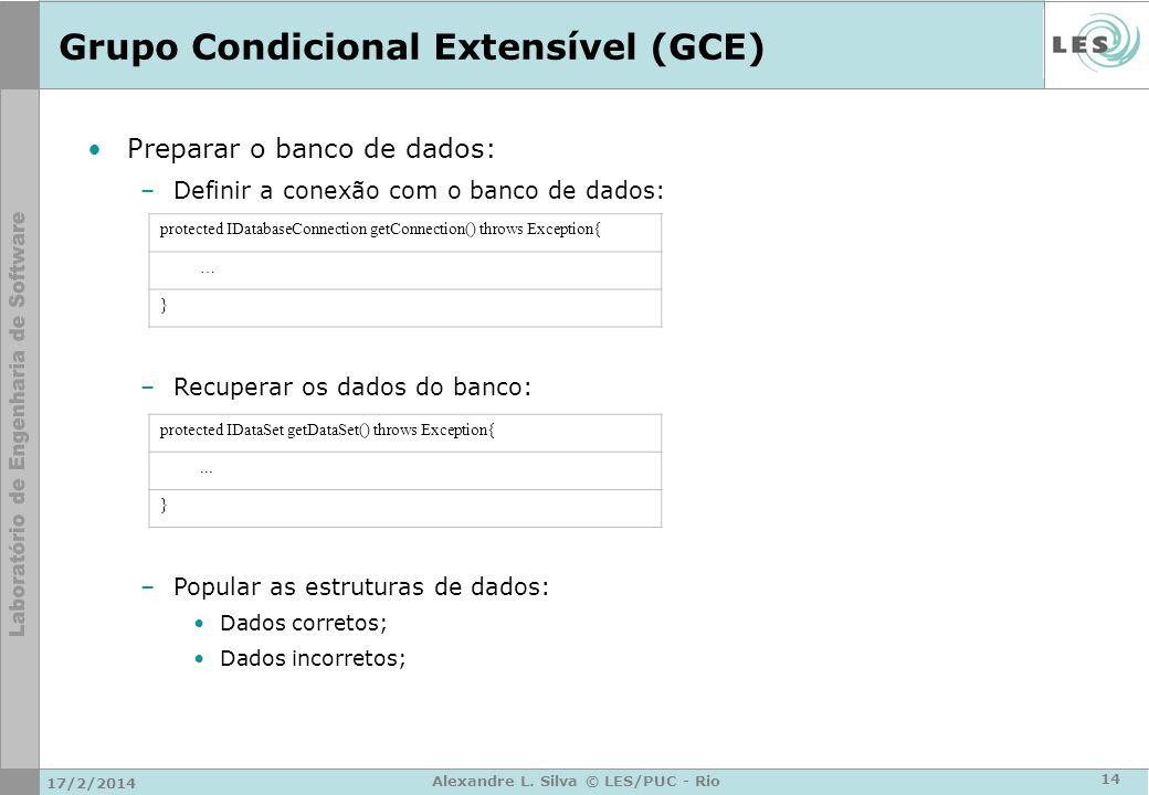 Grupo Condicional Extensível (GCE) Preparar o banco de dados: –Definir a conexão com o banco de dados: protected IDatabaseConnection getConnection() t
