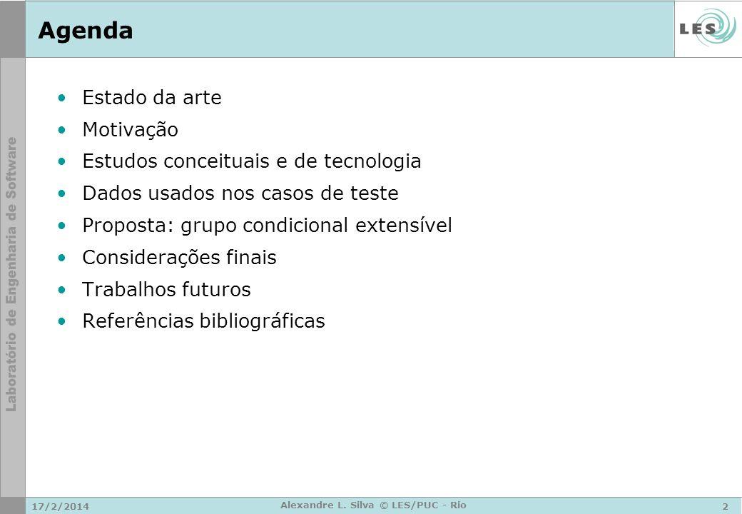 17/2/20142 Alexandre L. Silva © LES/PUC - Rio Agenda Estado da arte Motivação Estudos conceituais e de tecnologia Dados usados nos casos de teste Prop