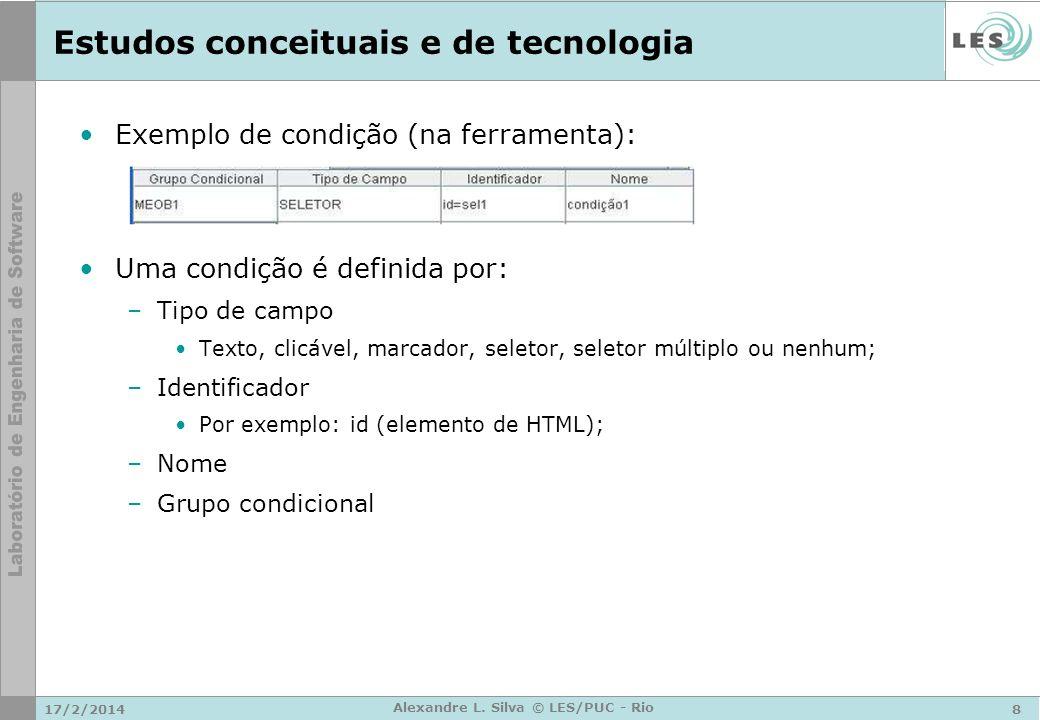 17/2/20148 Alexandre L. Silva © LES/PUC - Rio Estudos conceituais e de tecnologia Exemplo de condição (na ferramenta): Uma condição é definida por: –T