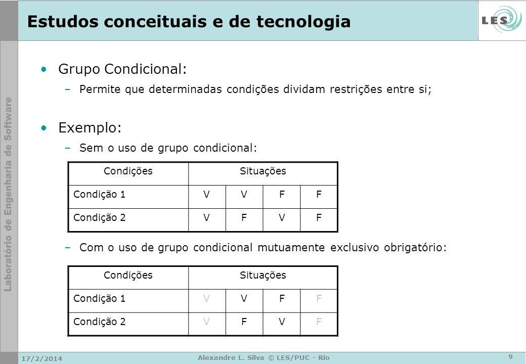 Estudos conceituais e de tecnologia Grupo Condicional: –Permite que determinadas condições dividam restrições entre si; Exemplo: –Sem o uso de grupo c