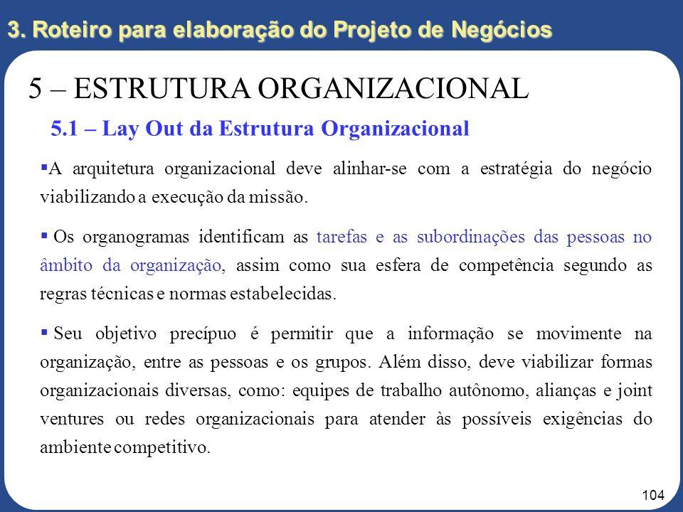 103 3. Roteiro para elaboração do Projeto de Negócios 5 – ESTRUTURA ORGANIZACIONAL 5.1 – Lay Out da Estrutura Organizacional 5.2 – Modelo de Gestão de