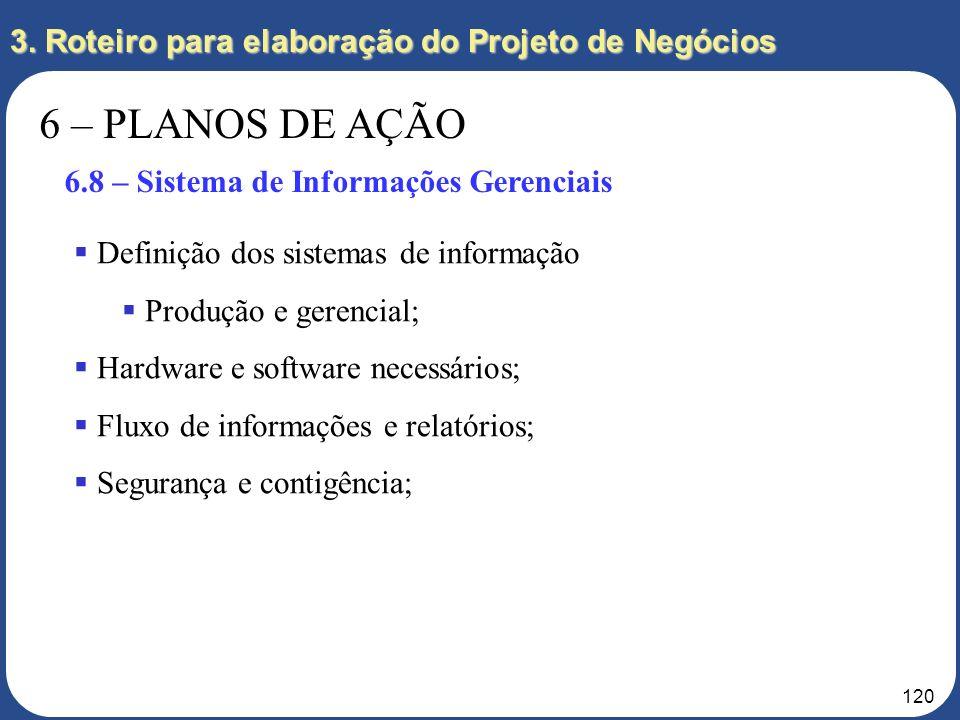 119 3. Roteiro para elaboração do Projeto de Negócios 6 – PLANOS DE AÇÃO 6.7 – Infraestrutura Gerenciamento geral da empresa; Contabilidade da empresa