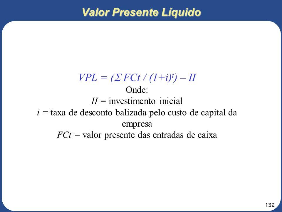 138 7 – ANÁLISES FINANCEIRA 7.4 – Indicadores Financeiros 3. Roteiro para elaboração do Projeto de Negócios Taxa Interna de Retorno - TIR Taxa de desc