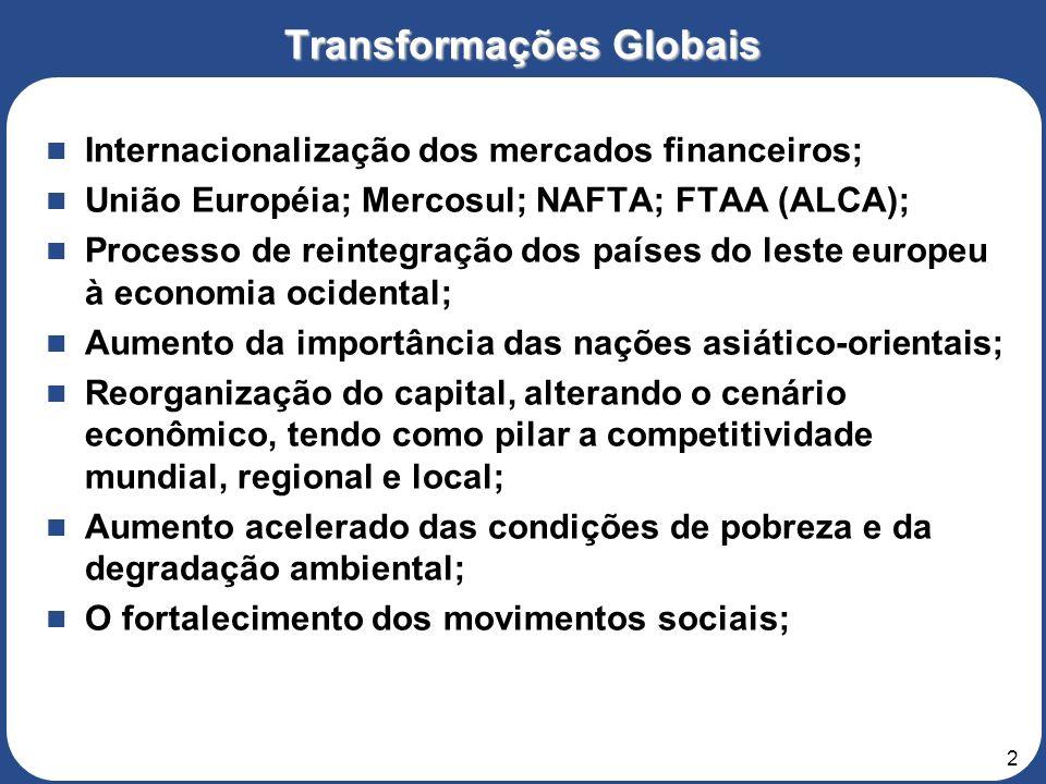2 Internacionalização dos mercados financeiros; União Européia; Mercosul; NAFTA; FTAA (ALCA); Processo de reintegração dos países do leste europeu à economia ocidental; Aumento da importância das nações asiático-orientais; Reorganização do capital, alterando o cenário econômico, tendo como pilar a competitividade mundial, regional e local; Aumento acelerado das condições de pobreza e da degradação ambiental; O fortalecimento dos movimentos sociais; Transformações Globais