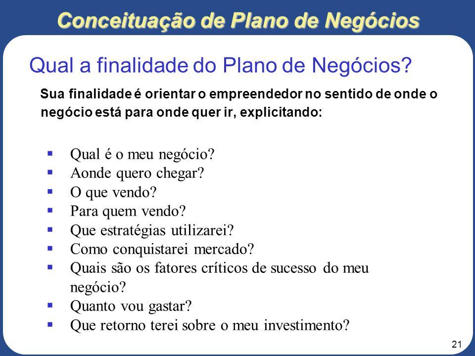 20 Conceituação de Plano de Negócios É um documento que contém a caracterização do negócio, sua forma de operar, suas estratégias, seu plano para conq