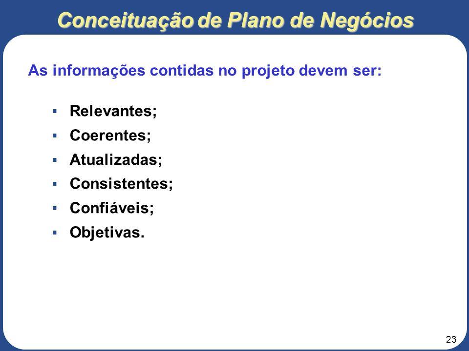 22 Conceituação de Plano de Negócios Aos sócios da empresa. Aos investidores da empresa. Aos empregados da empresa. Ao público em geral. A quem intere