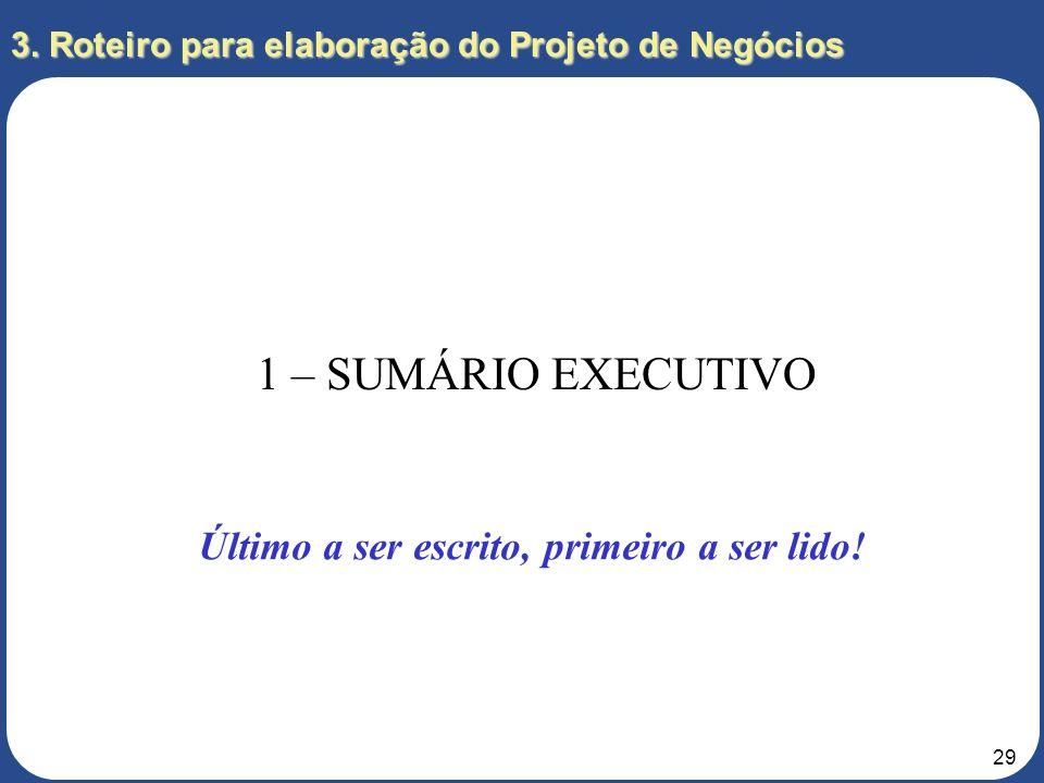 28 3. Roteiro para elaboração do Projeto de Negócios SUMÁRIO EXECUTIVO RESUMO DA EMPRESA ANÁLISE DO MERCADO ESTRATÉGIA ESTRUTURA ORGANIZACIONAL PLANOS