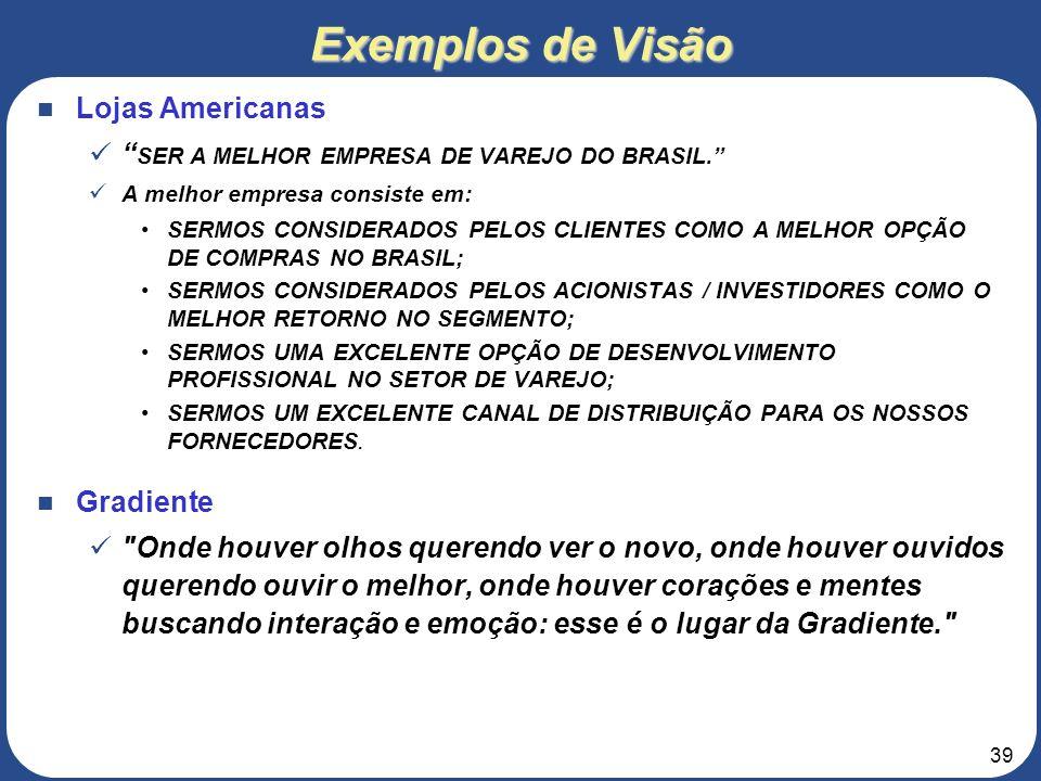 38 3. Roteiro para elaboração do Projeto de Negócios 1 – SUMÁRIO EXECUTIVO 1.4 – Visão A Segurança Ltda. objetiva ser a principal referência no fornec