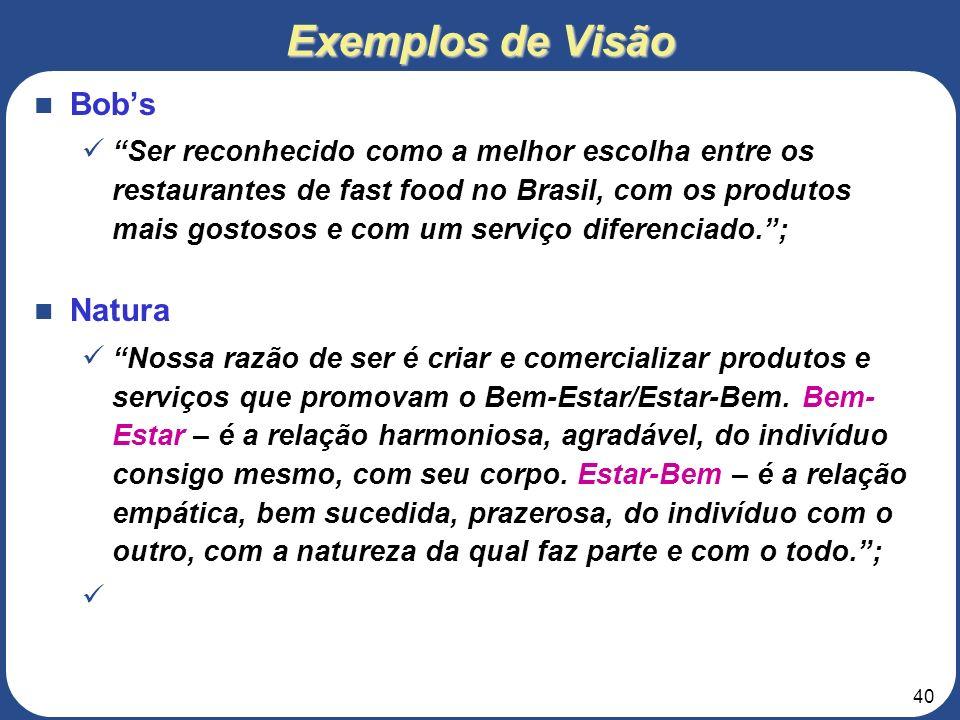 39 Exemplos de Visão Lojas Americanas SER A MELHOR EMPRESA DE VAREJO DO BRASIL. A melhor empresa consiste em: SERMOS CONSIDERADOS PELOS CLIENTES COMO