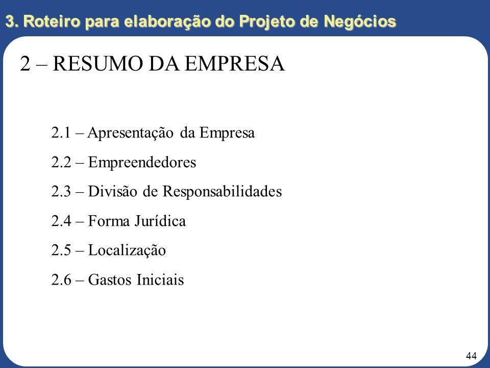 43 3. Roteiro para elaboração do Projeto de Negócios 2 – RESUMO DA EMPRESA