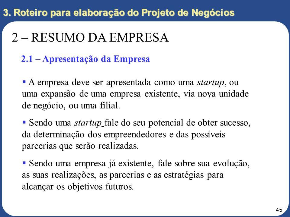 44 3. Roteiro para elaboração do Projeto de Negócios 2 – RESUMO DA EMPRESA 2.1 – Apresentação da Empresa 2.2 – Empreendedores 2.3 – Divisão de Respons